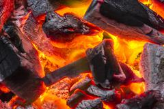 Charcoal burn fire background Stock Photos