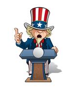 uncle sam presidential podium intence - stock illustration