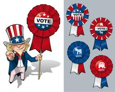 uncle sam i want you to vote - stock illustration