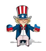 uncle sam republican n democratic - stock illustration