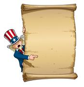 uncle sam pointing at declaration - stock illustration