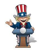uncle sam presidential podium open - stock illustration