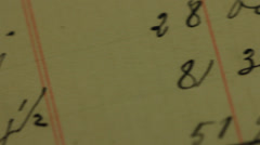 Old handwriting in genealogy Stock Footage