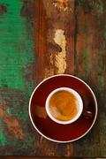 espresso coffee cup on rustic table - stock photo