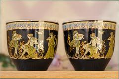 beautiful tea cups and saucers - stock photo