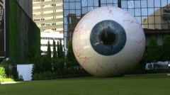 Giant Eyeball Sculpture Downtown Dallas Texas Stock Footage
