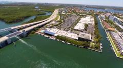 Aerial Intracoastal Mall Miami Stock Footage