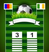 Soccer scoreboard design on field with copy space  background Stock Illustration