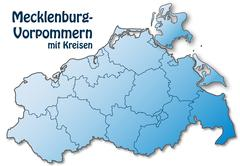 Map of mecklenburg-western pomerania Stock Illustration