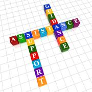 Assistance, support, guidance in color cubes crossword Stock Illustration