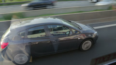 Car overtaking driving on motorway in belgium Stock Footage