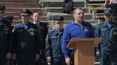 The awarding of firefighters in Simferopol, Crimea, Russia Stock Footage