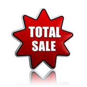 Total sale in red star banner Stock Illustration