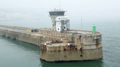 Breakwater at harbour entrance, dover, england Stock Footage