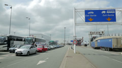 Stock Video Footage of passenger vehicles wait for ferry at calais docks, france