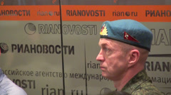 Russian paratrooper in the blue beret Stock Footage