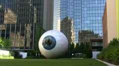 Eyeball Sculpture Downtown Dallas Stock Footage