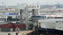 Stock Video Footage of coaches driving off cross channel ferry at calais docks, france