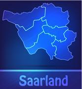 map of saarland - stock illustration