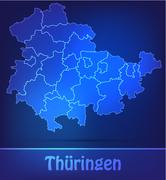 Stock Illustration of map of thuringia