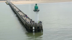 Breakwater at harbour entrance, calais, france Stock Footage