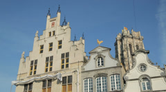 Buildings at grote markt, market square, mechelen, belgium Stock Footage