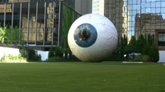 Giant Eyeball Sculpture In Dallas Stock Footage