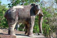 Stone elephant statue at wat bakong in angkor, cambodia Stock Photos