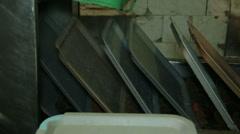 Conveyor dishwasher Stock Footage