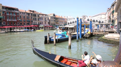 view of the rialto bridge in venice, italy - stock footage