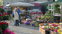 Flowers for sale at grote markt, market square, mechelen, belgium Stock Footage