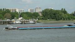 industrial barge on river scheldt, antwerp, belgium - stock footage
