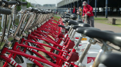 Bike share scheme, antwerp, belgium Stock Footage