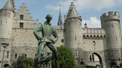 Het steen, medieval fortress, stone castle, antwerp, belgium Stock Footage