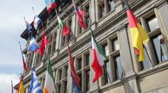 Flags, antwerp city hall, belgium Stock Footage