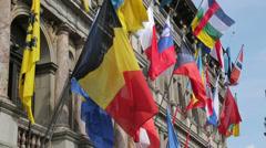Belgian flag, antwerp city hall, belgium Stock Footage