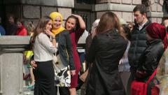Muslim turkish people at wedding in grote markt, antwerp, belgium Stock Footage