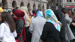 Muslim turkish people at wedding in grote markt, antwerp, belgium Stock Footage