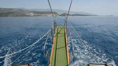 The view form swimming motor yacht in Kekova, Turkey Stock Footage