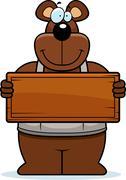 cartoon woodworking bear sign - stock illustration
