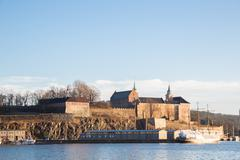 Stock Photo of Oslo Fjord harbor and Akershus Fortress