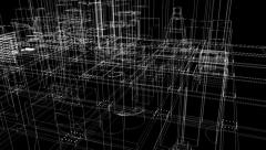 fly through schematic architectural blueprints rotating loop background loop - stock footage
