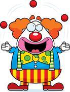 cartoon clown juggling - stock illustration