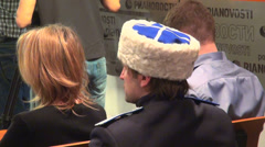 Cossack cap on lectures Stock Footage