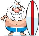 Stock Illustration of cartoon man surfboard