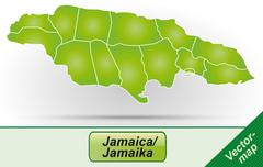 map of jamaica - stock illustration