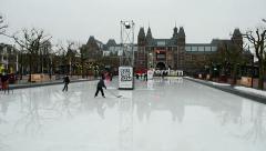 Skating-rink near the Rijksmuseum in Amsterdam, Netherlands, Stock Footage