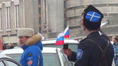 The Cossacks were photographed at the Russian flags. Stock Footage