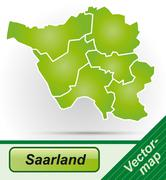 map of saarland - stock illustration
