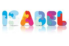 Vector isabel written with alphabet puzzle Stock Illustration